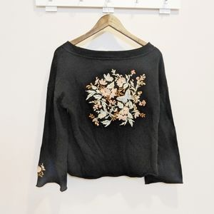 Olivia Sky Boho Embroidered Floral Blouse Medium